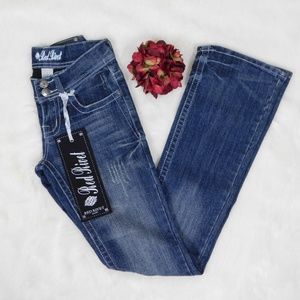 Embellished Boot Cut Distressed Jeans Low 1